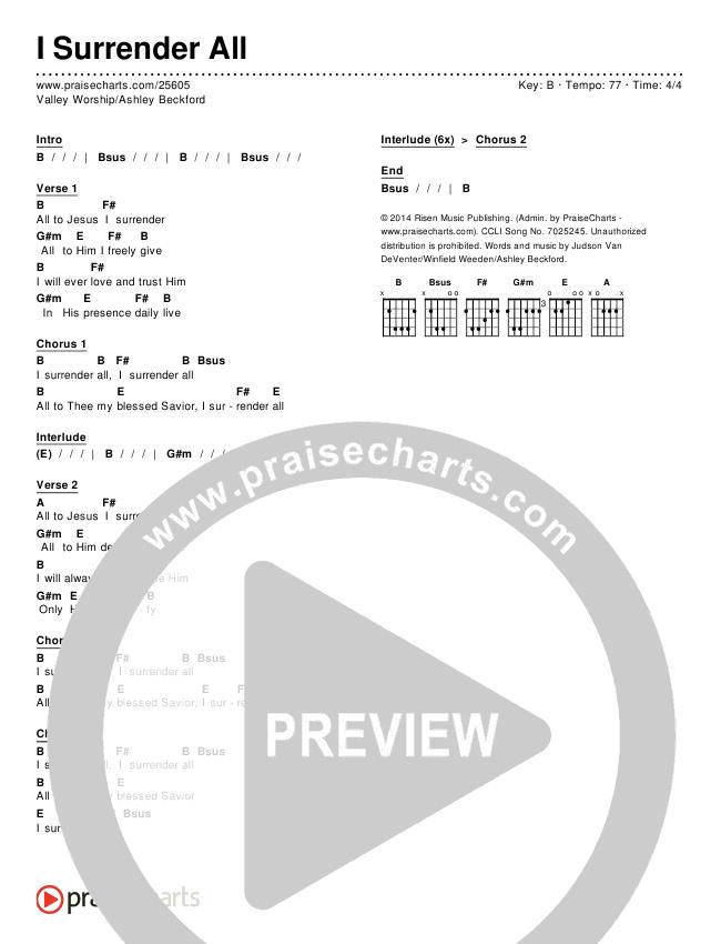 I Surrender All Chords & Lyrics (Valley Worship / Ashley Beckford)