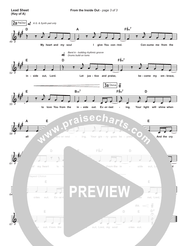 From The Inside Out Lead Sheet (Melody) (Hillsong Worship)