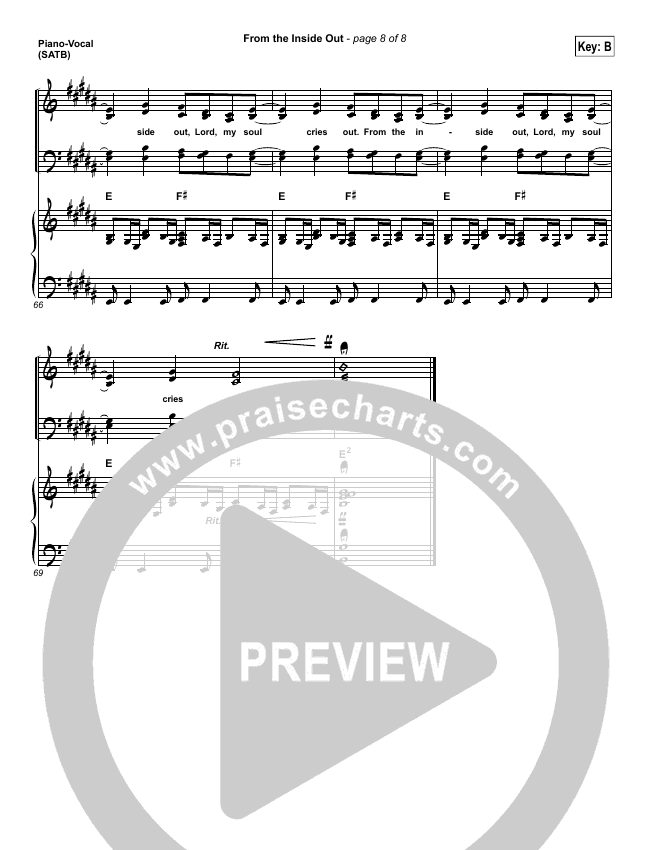 From The Inside Out Piano/Vocal (SATB) (Hillsong Worship)