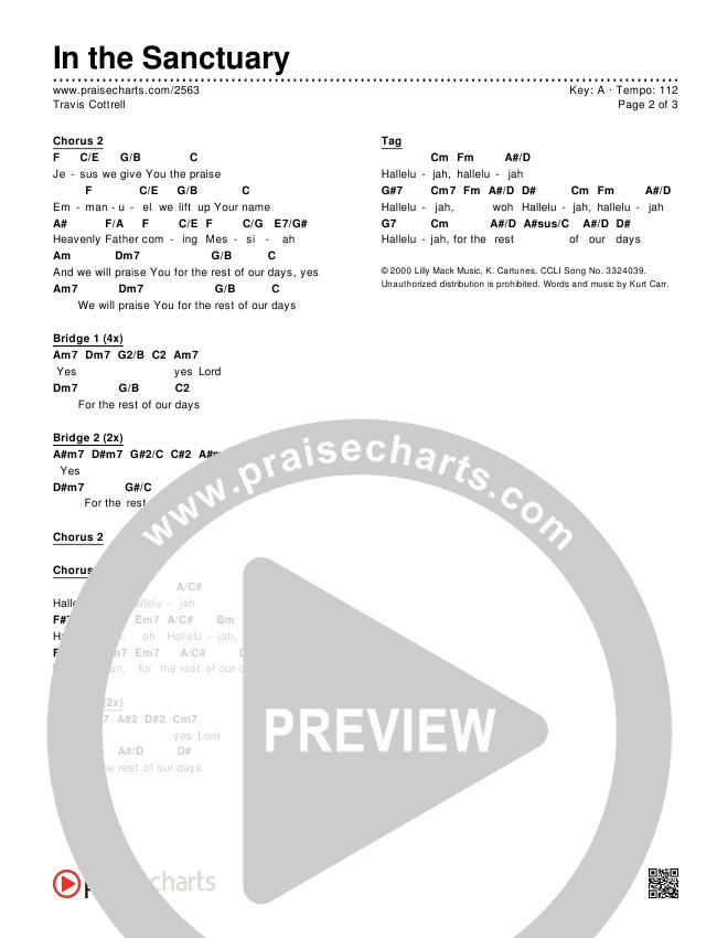 In The Sanctuary Chords & Lyrics (Travis Cottrell)