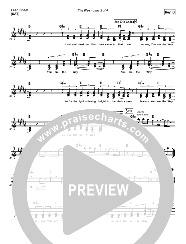 The Way Lead Sheet (SAT) (Worship Central)