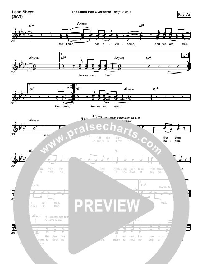The Lamb Has Overcome Lead Sheet (SAT) (Travis Cottrell)
