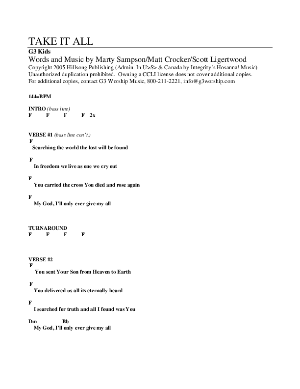 Take It All Chord Chart (G3 Kids)