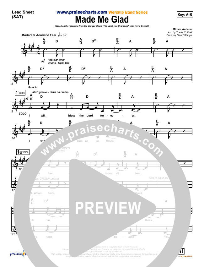 Made Me Glad Lead Sheet (SAT) (Travis Cottrell)