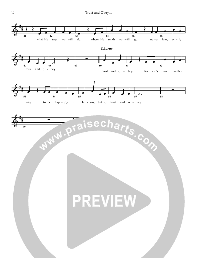 Trust And Obey Lead Sheet & Piano/Vocal - G3 Kids | PraiseCharts