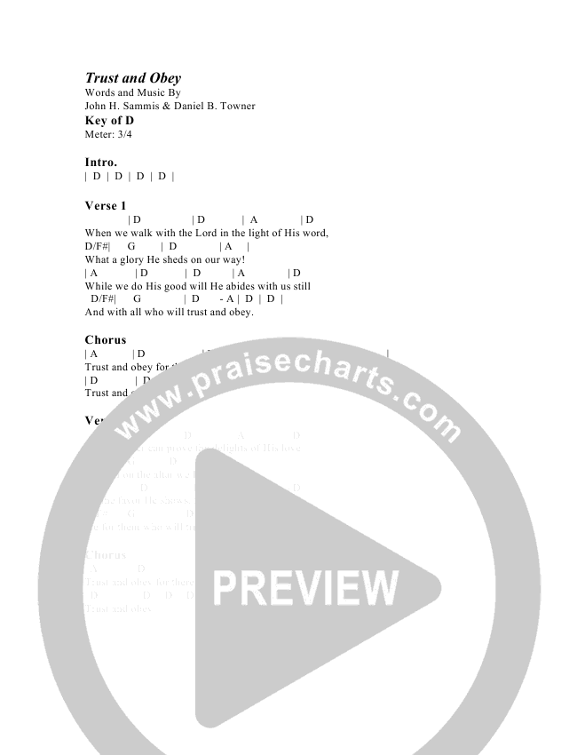 Trust And Obey Chords G3 Kids Praisecharts