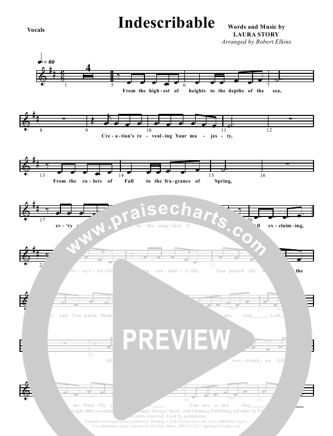 Indescribable Lead Sheet Pianovocal G3 Kids Praisecharts