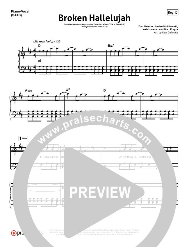 Broken Hallelujah Piano/Vocal (SATB) (The Afters)