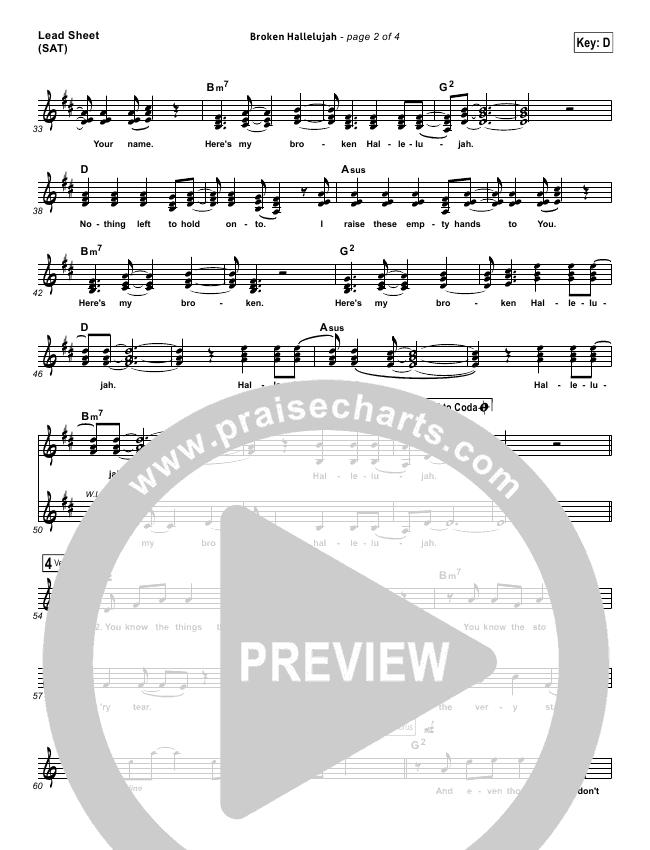 Broken Hallelujah Lead Sheet & Piano/Vocal - The Afters | PraiseCharts