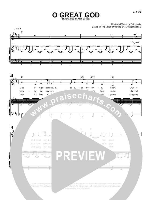 O Great God Lead & Piano (Sovereign Grace / Matt Boswell)