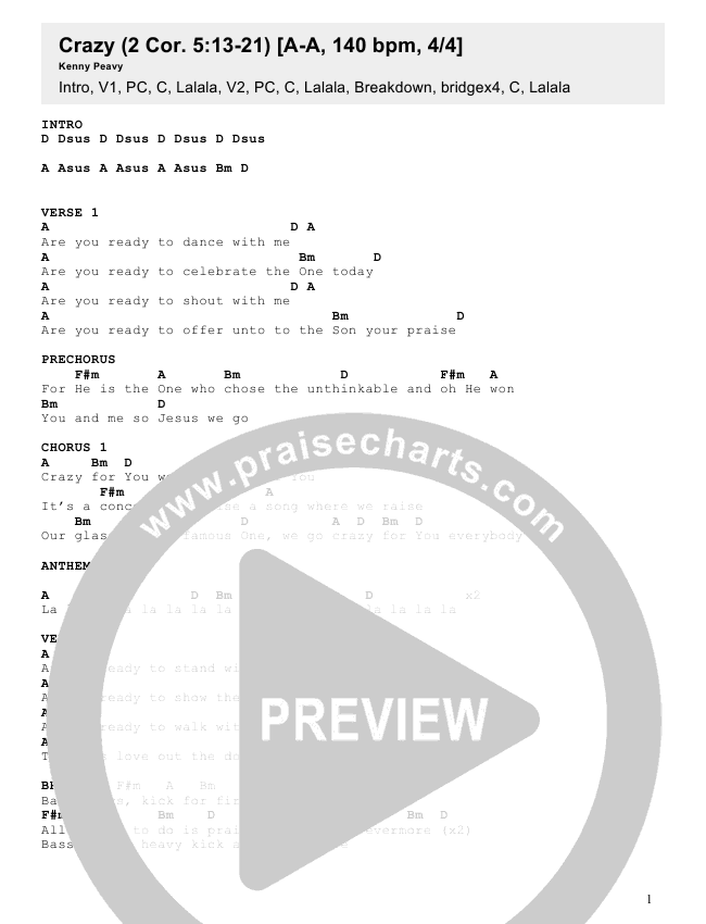 Crazy Chords - Kenny Peavy | PraiseCharts