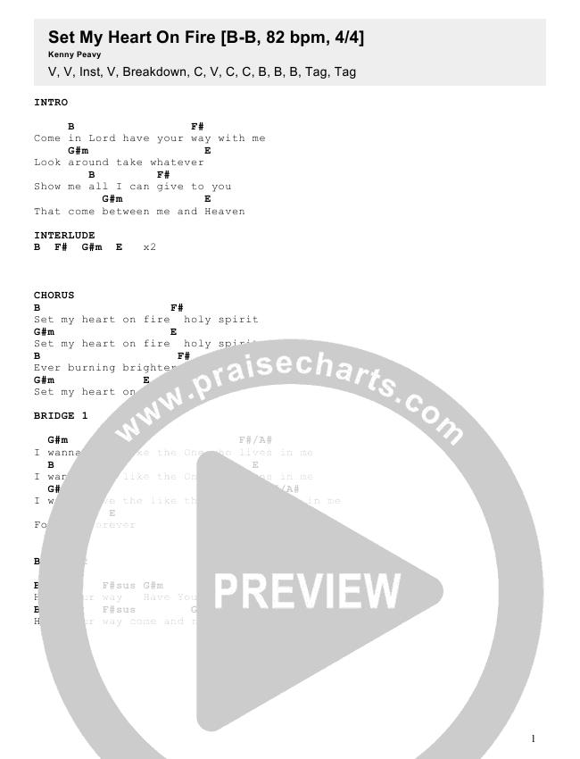 Set My Heart On Fire Chords Kenny Peavy Praisecharts
