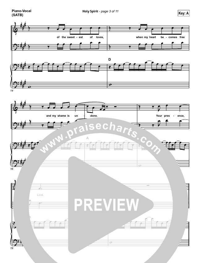 Holy Spirit  Piano/Vocal (SATB) (Bryan & Katie Torwalt)