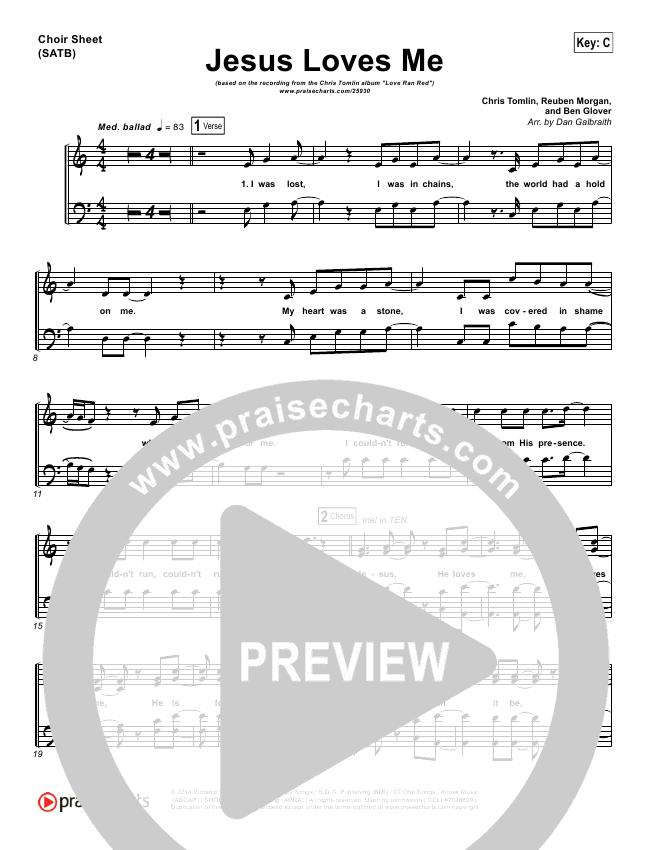 Jesus Loves Me Choir Sheet (SATB) - Chris Tomlin | PraiseCharts