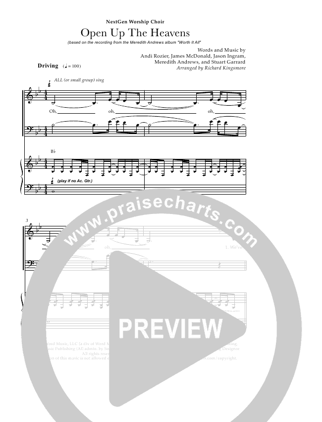 Open Up The Heavens (Choral) Piano Vocal (Meredith Andrews)