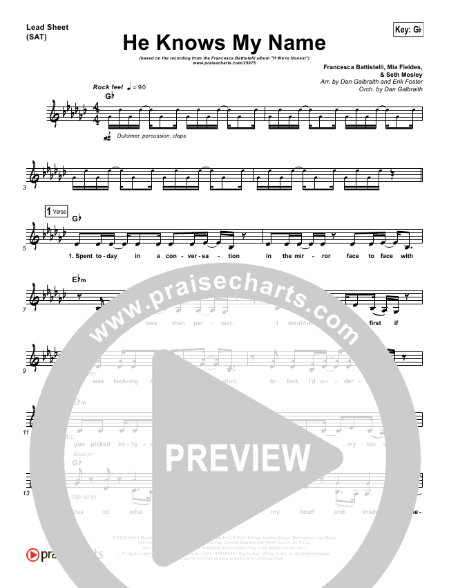 He Knows My Name Lead Sheet Pianovocal Francesca Battistelli