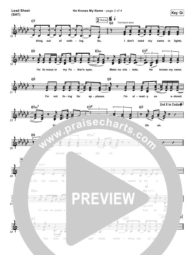 He Knows My Name Lead & Piano/Vocal (Francesca Battistelli)