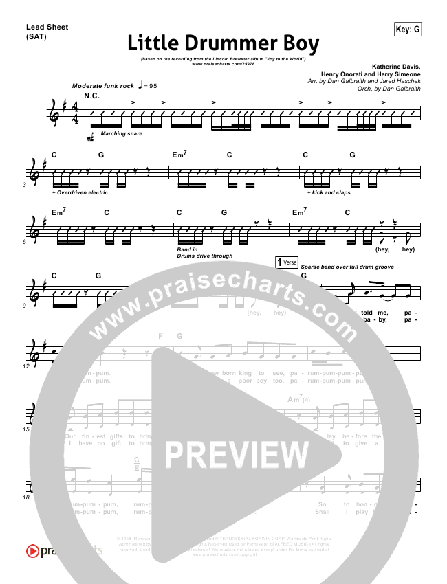 Little Drummer Boy Lead Sheet Pianovocal Lincoln Brewster