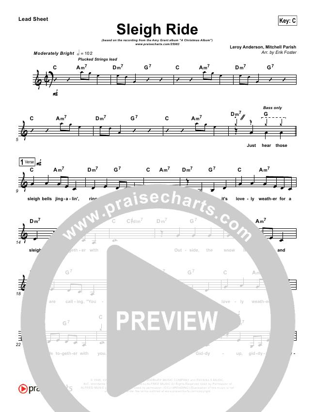 Sleigh Ride Lead Sheet Amy Grant Praisecharts