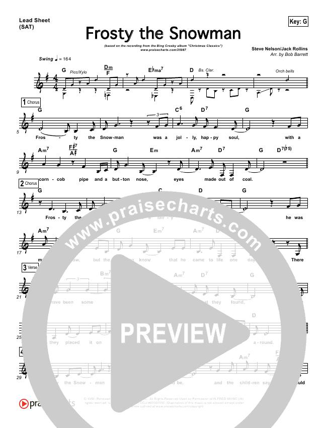 Frosty The Snowman Lead Sheet - Bing Crosby   PraiseCharts