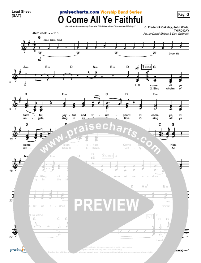 O Come All Ye Faithful Lead Sheet & Piano/Vocal - Third Day ...