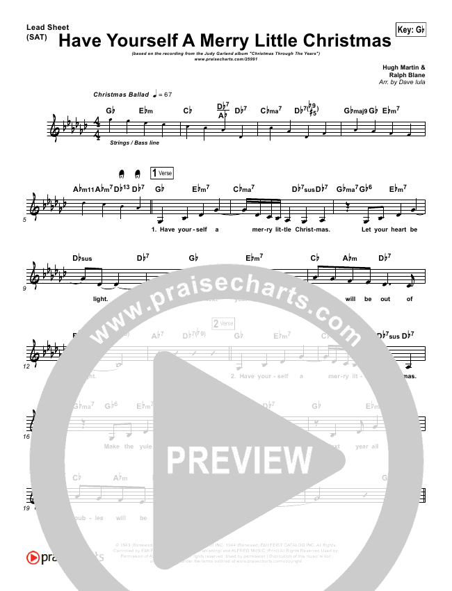 Have Yourself A Merry Little Christmas Lead Sheet - Judy Garland ...