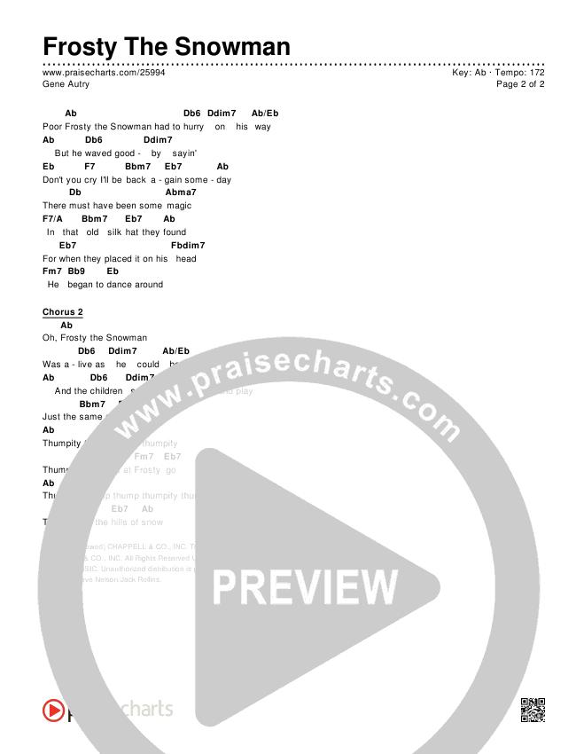 Frosty The Snowman  Chords & Lyrics (Gene Autry)