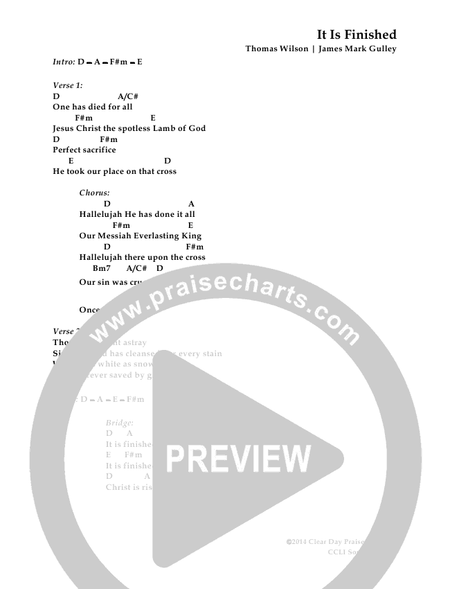 It Is Finished Chord Chart (Antioch Live)