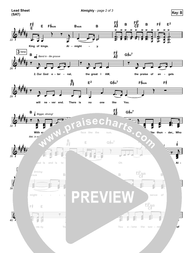 Almighty Lead Sheet (SAT) (Chris Tomlin)