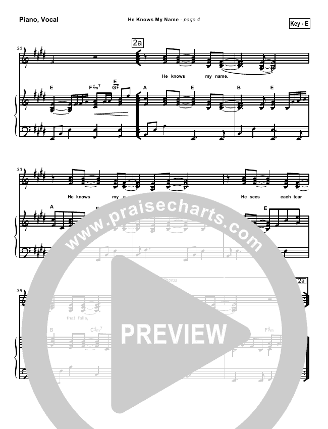 He Knows My Name Lead Sheet & Piano/Vocal - Tommy Walker | PraiseCharts