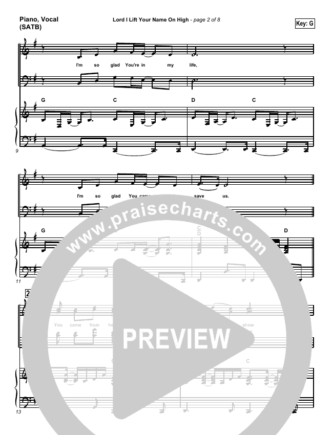 Lord I Lift Your Name On High Piano/Vocal (SATB) (Paul Baloche)