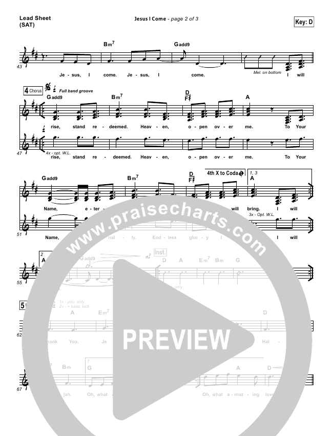 Jesus I Come Lead & Piano/Vocal (Elevation Worship)