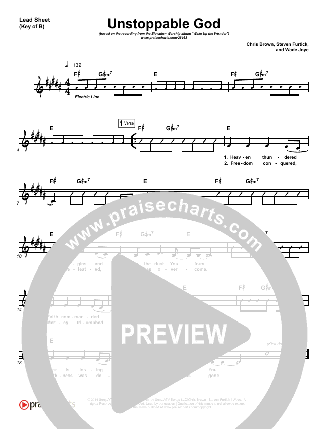 Unstoppable God Lead Sheet (Melody) (Elevation Worship)
