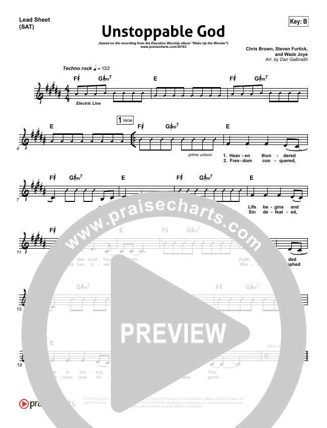 Unstoppable God Lead Sheet (SAT) (Elevation Worship)