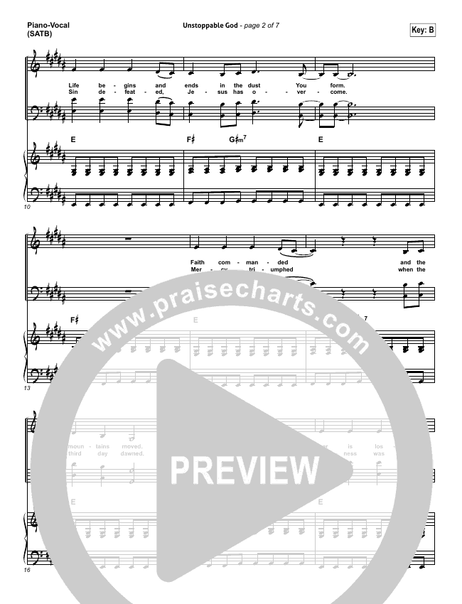 Unstoppable God Piano/Vocal (SATB) (Elevation Worship)