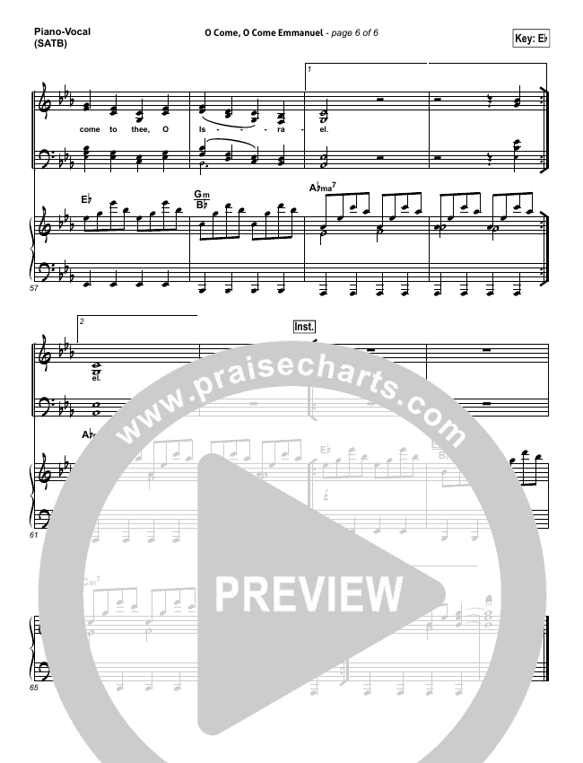 O Come O Come Emmanuel Lead Sheet Pianovocal Kim Walker Smith