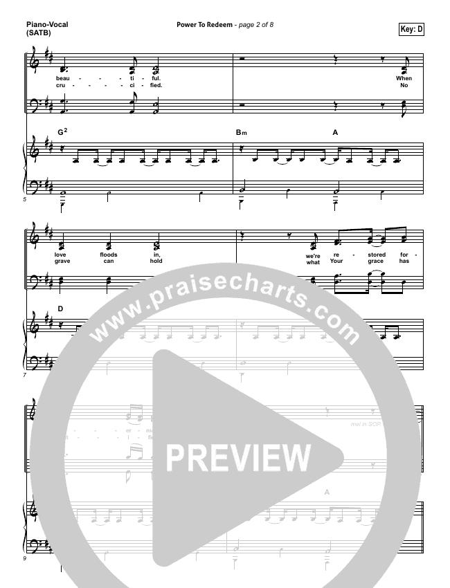 Power To Redeem Piano/Vocal (SATB) (Lauren Daigle)