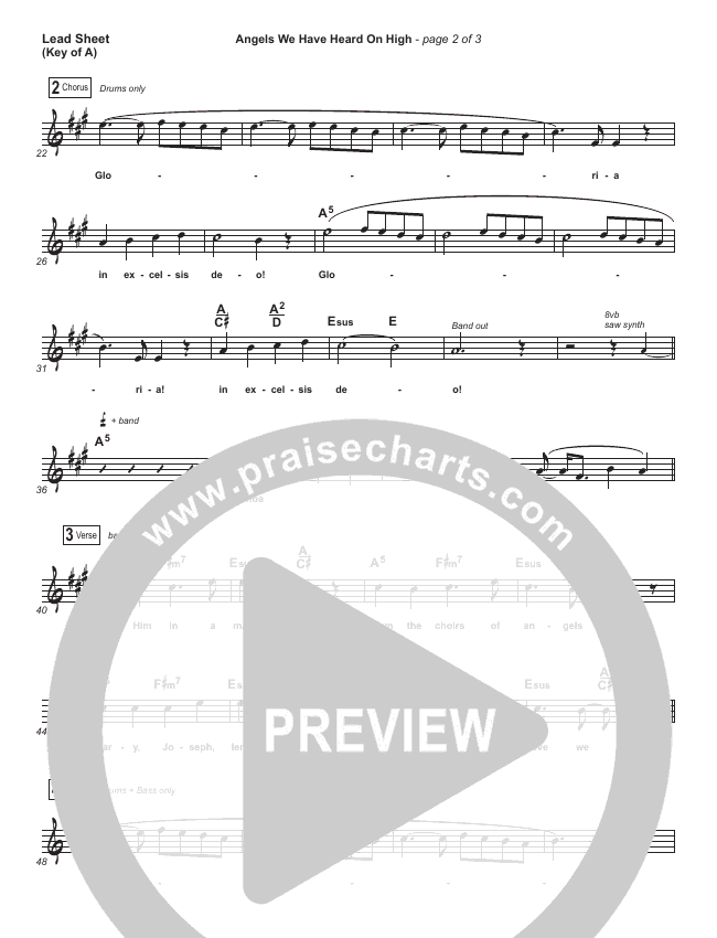 Angels We Have Heard On High Sheet Music For King Country Praisecharts