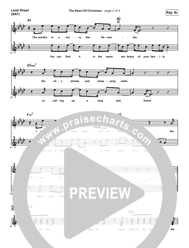 Matthew West The Heart Of Christmas.The Heart Of Christmas Lead Sheet Sat Matthew West