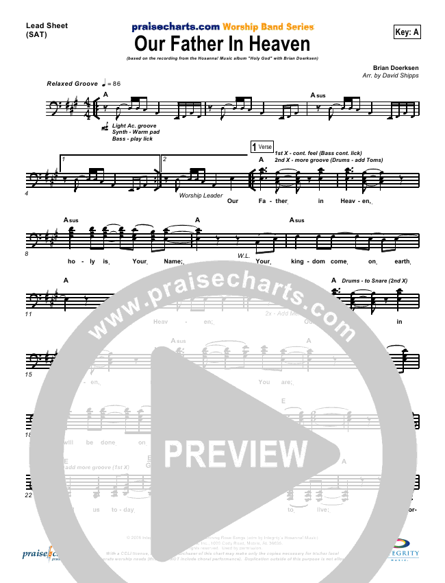 Our Father In Heaven Lead Sheet & Piano/Vocal - Brian Doerksen ...