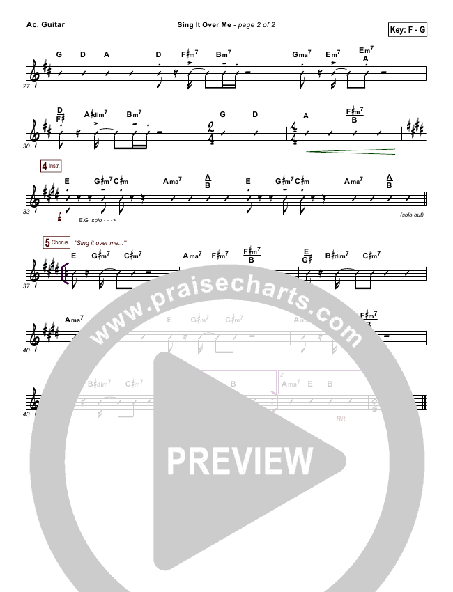 Sing It Over Me Rhythm Chart (Tommy Walker)