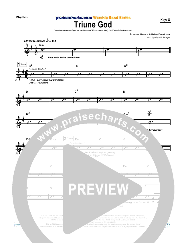 Triune God Rhythm Chart (Brian Doerksen)