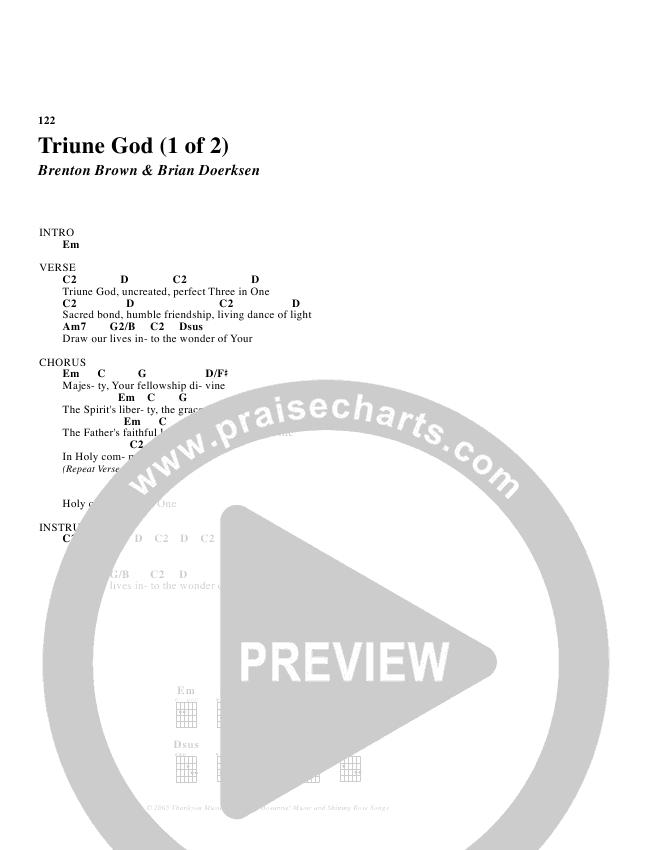 Triune God Chord Chart (Brian Doerksen)