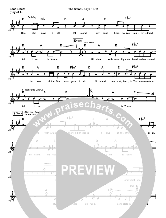 The Stand Lead Sheet (Melody) (Hillsong UNITED)