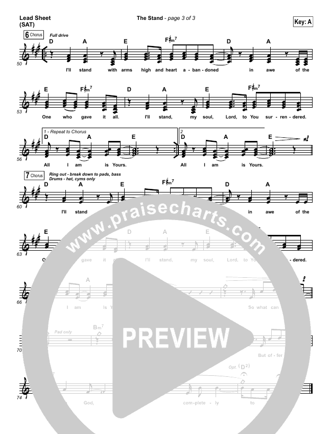 The Stand Lead Sheet (SAT) (Hillsong UNITED)