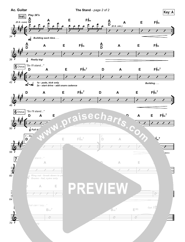 The Stand Rhythm Chart (Hillsong UNITED)