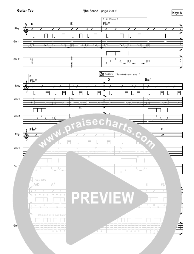The Stand Guitar Tab (Hillsong UNITED)