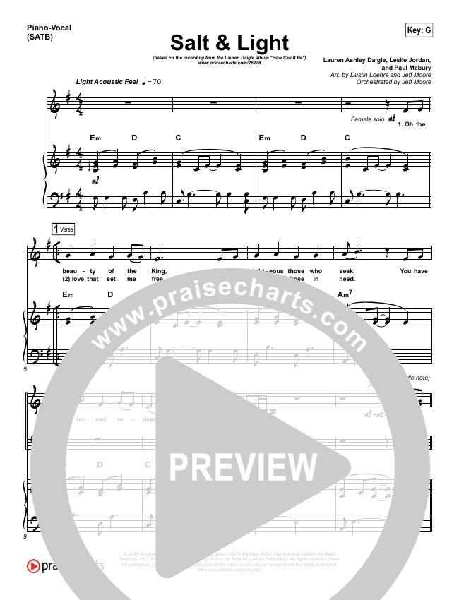 Salt & Light Piano/Vocal (SATB) (Lauren Daigle)