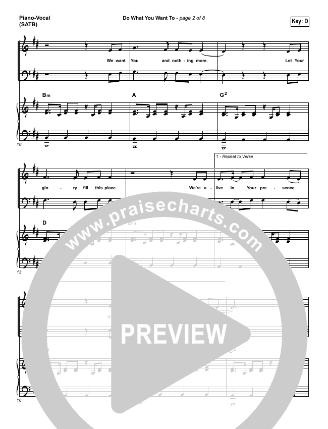 Do What You Want To Piano/Vocal (SATB) (Vertical Worship)