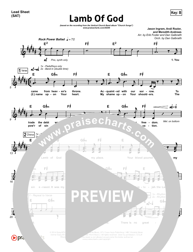 Lamb Of God Lead Sheet (SAT) (Vertical Worship)